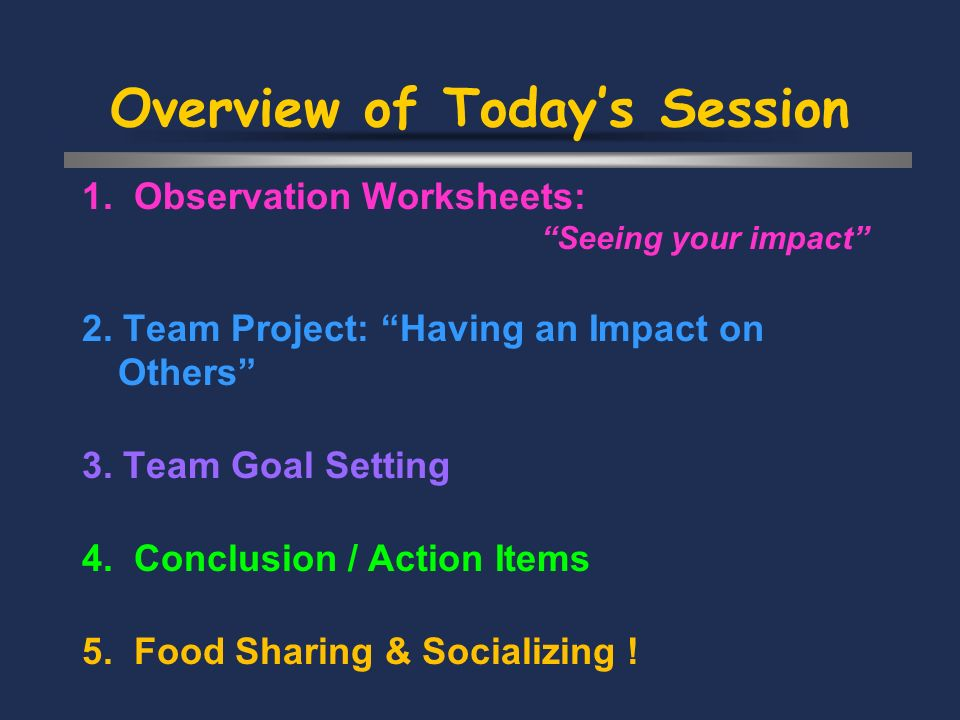 Overview of Todays Session 1. Observation Worksheets: Seeing your impact 2.