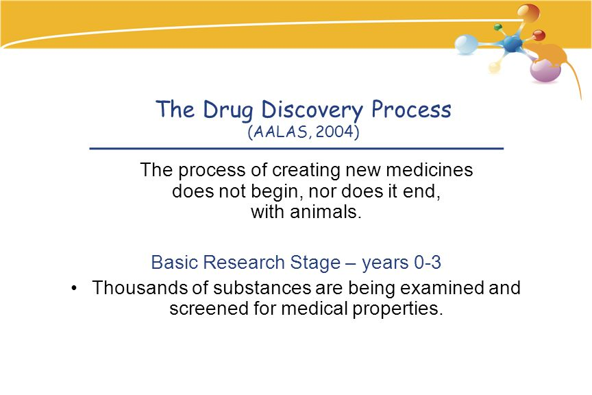 The Drug Discovery Process (AALAS, 2004) The process of creating new medicines does not begin, nor does it end, with animals.