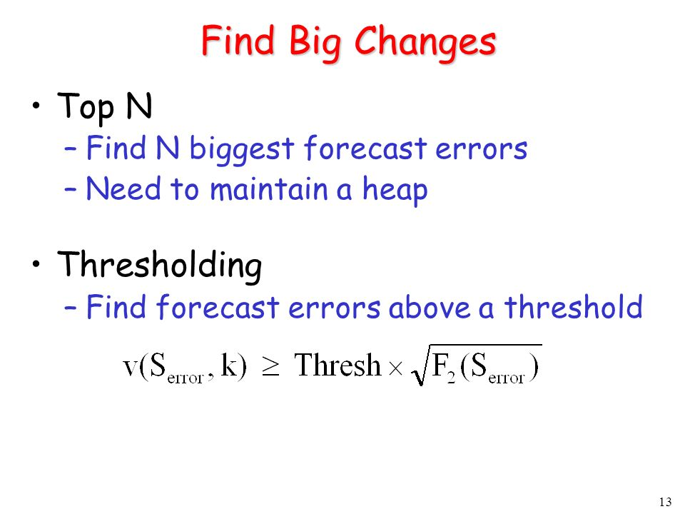 13 Find Big Changes Top N –Find N biggest forecast errors –Need to maintain a heap Thresholding –Find forecast errors above a threshold
