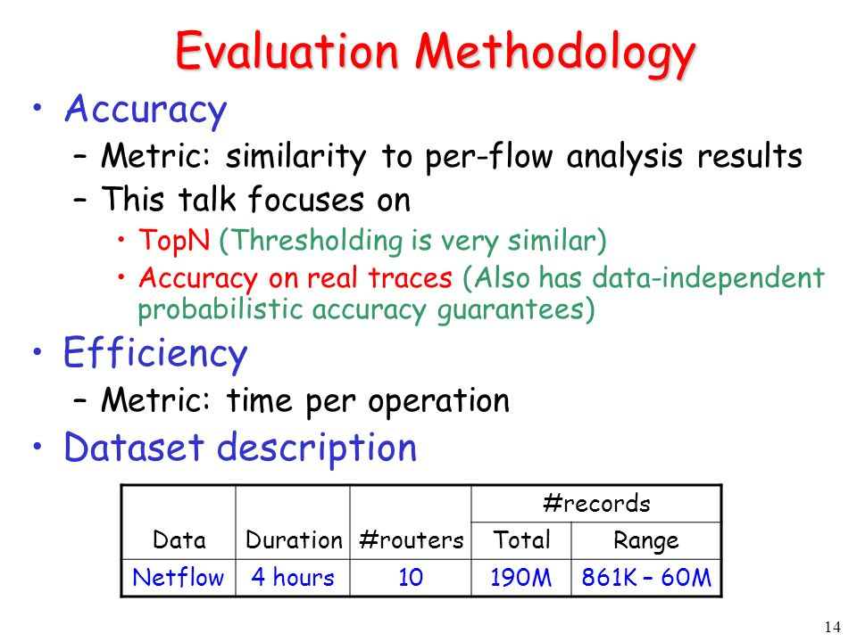 14 Evaluation Methodology Accuracy –Metric: similarity to per-flow analysis results –This talk focuses on TopN (Thresholding is very similar) Accuracy on real traces (Also has data-independent probabilistic accuracy guarantees) Efficiency –Metric: time per operation Dataset description DataDuration#routers #records TotalRange Netflow4 hours10190M861K – 60M