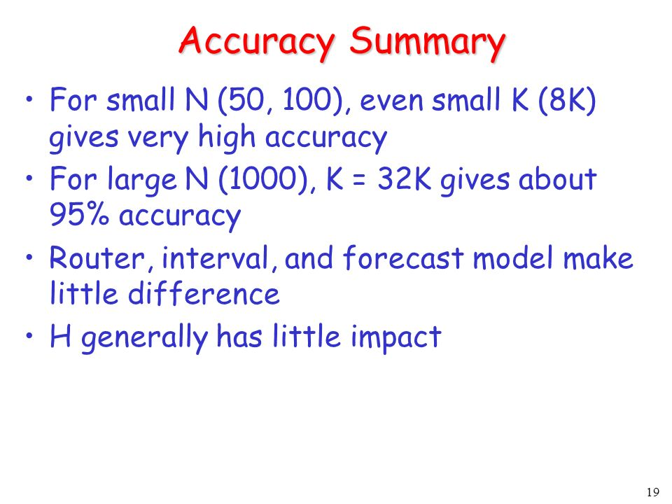 19 Accuracy Summary For small N (50, 100), even small K (8K) gives very high accuracy For large N (1000), K = 32K gives about 95% accuracy Router, interval, and forecast model make little difference H generally has little impact