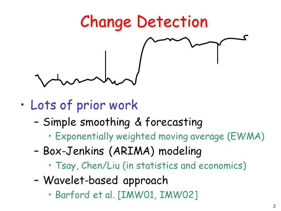 3 Change Detection Lots of prior work –Simple smoothing & forecasting Exponentially weighted moving average (EWMA) –Box-Jenkins (ARIMA) modeling Tsay, Chen/Liu (in statistics and economics) –Wavelet-based approach Barford et al.