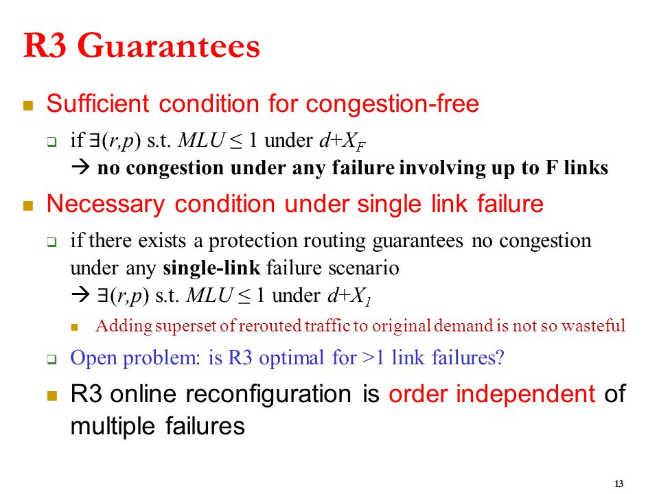 R3 Guarantees Sufficient condition for congestion-free if (r,p) s.t.