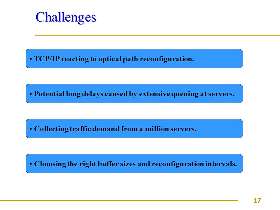 17 Challenges TCP/IP reacting to optical path reconfiguration.