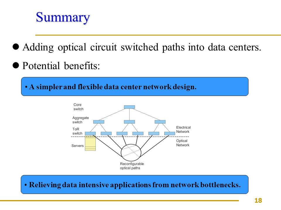 18 Summary Adding optical circuit switched paths into data centers.