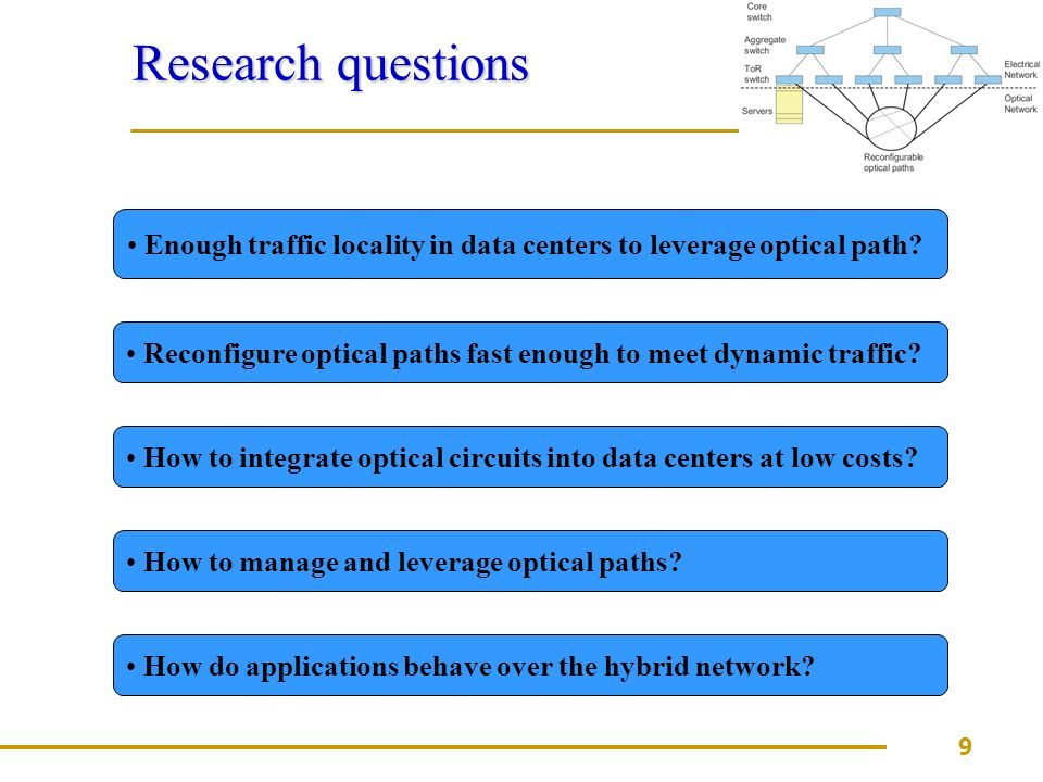9 Research questions Enough traffic locality in data centers to leverage optical path.