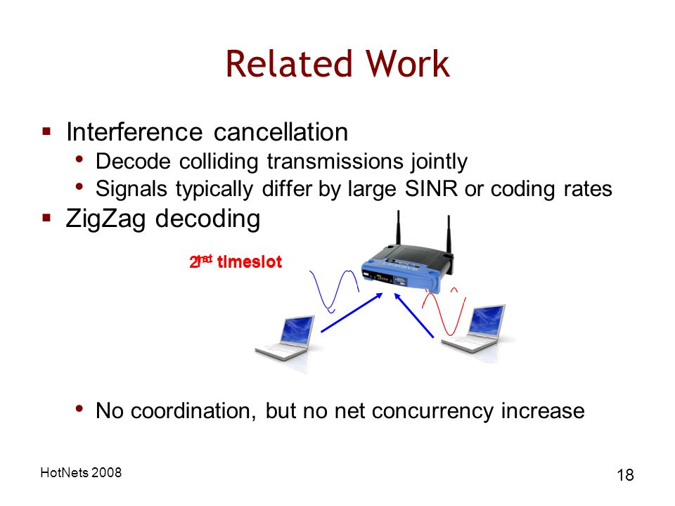 HotNets 2008 18 Related Work Interference cancellation Decode colliding transmissions jointly Signals typically differ by large SINR or coding rates ZigZag decoding No coordination, but no net concurrency increase 1 st timeslot 2 nd timeslot