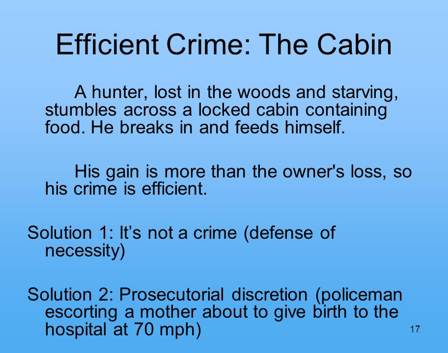 17 Efficient Crime: The Cabin A hunter, lost in the woods and starving, stumbles across a locked cabin containing food.