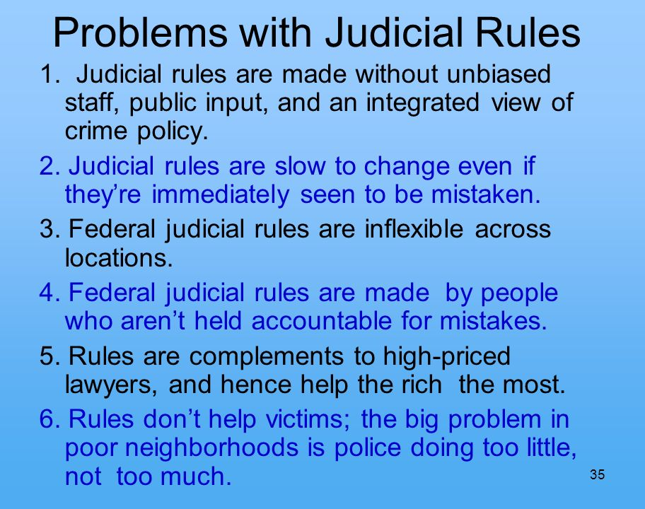 35 Problems with Judicial Rules 1.