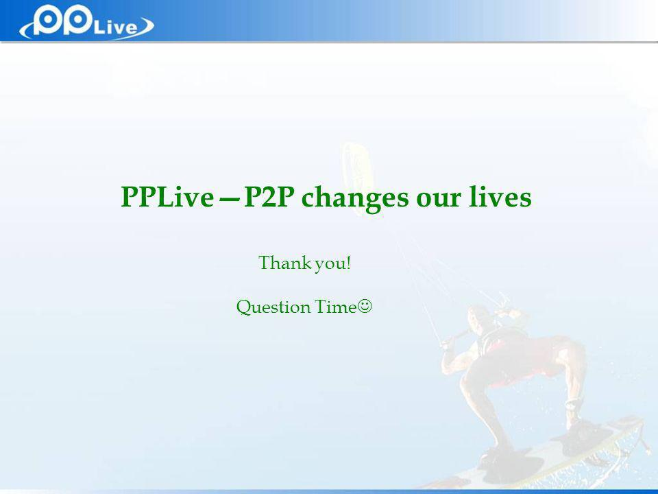 Private & Confidential Thank you! Question Time PPLiveP2P changes our lives