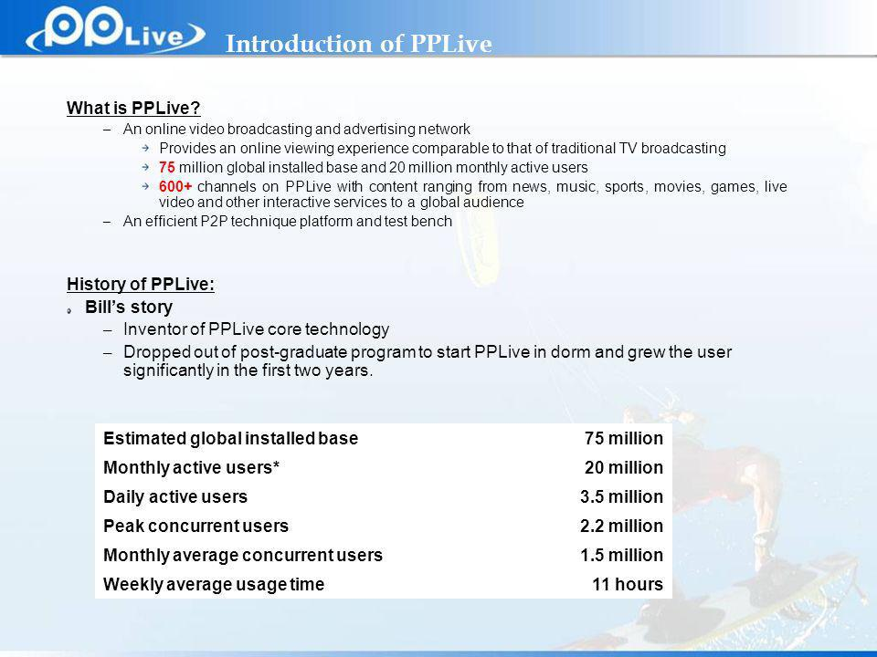 Private & Confidential What is PPLive.