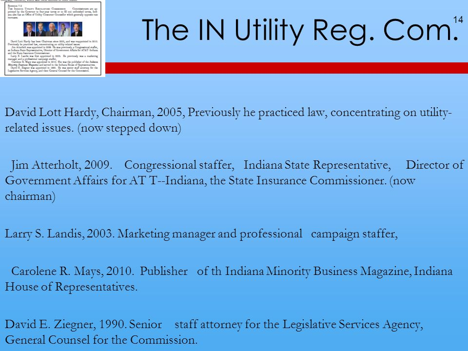 The IN Utility Reg. Com.
