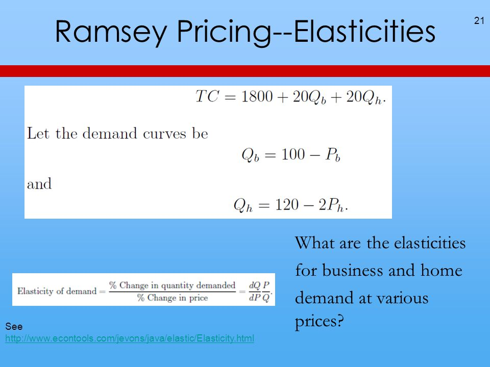 Ramsey Pricing--Elasticities 21 What are the elasticities for business and home demand at various prices.