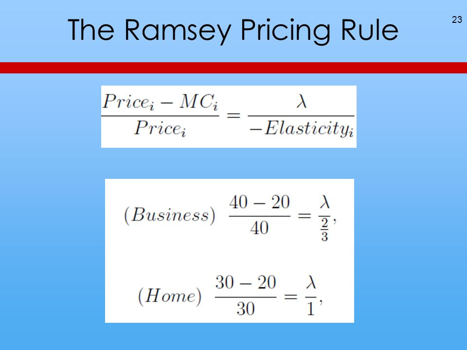 The Ramsey Pricing Rule 23