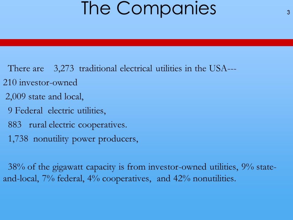The Companies 3 There are 3,273 traditional electrical utilities in the USA--- 210 investor-owned 2,009 state and local, 9 Federal electric utilities, 883 rural electric cooperatives.