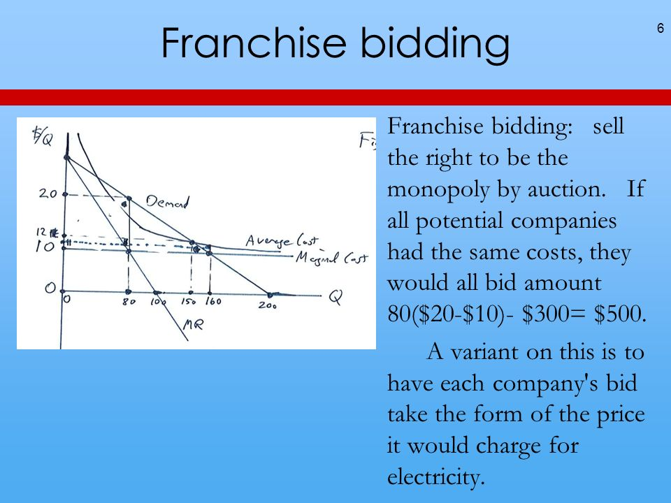 Franchise bidding 6 Franchise bidding: sell the right to be the monopoly by auction.