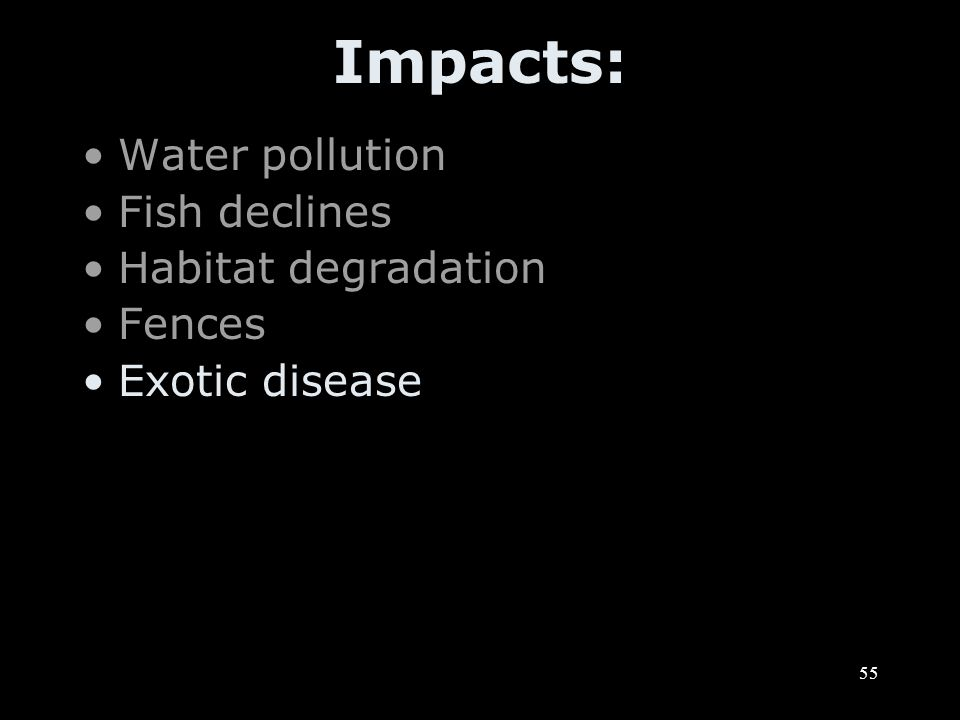 55 Impacts: Water pollution Fish declines Habitat degradation Fences Exotic disease
