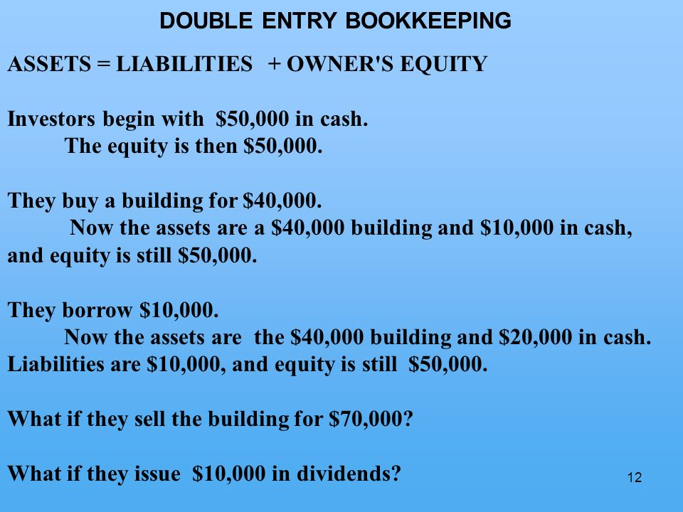 12 DOUBLE ENTRY BOOKKEEPING ASSETS = LIABILITIES + OWNER S EQUITY Investors begin with $50,000 in cash.