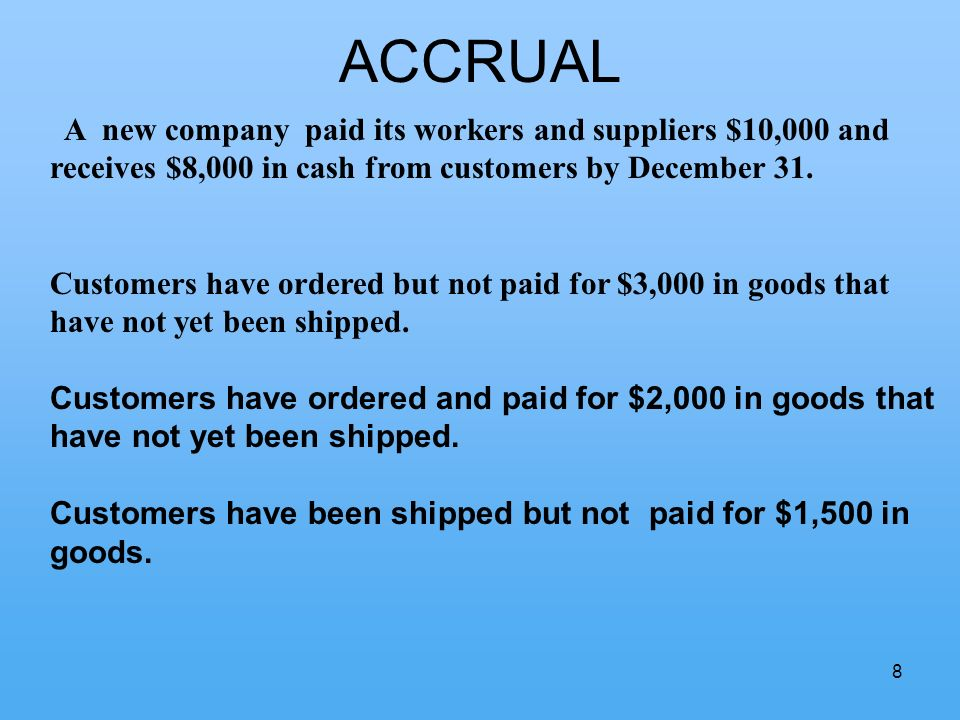 8 ACCRUAL A new company paid its workers and suppliers $10,000 and receives $8,000 in cash from customers by December 31.