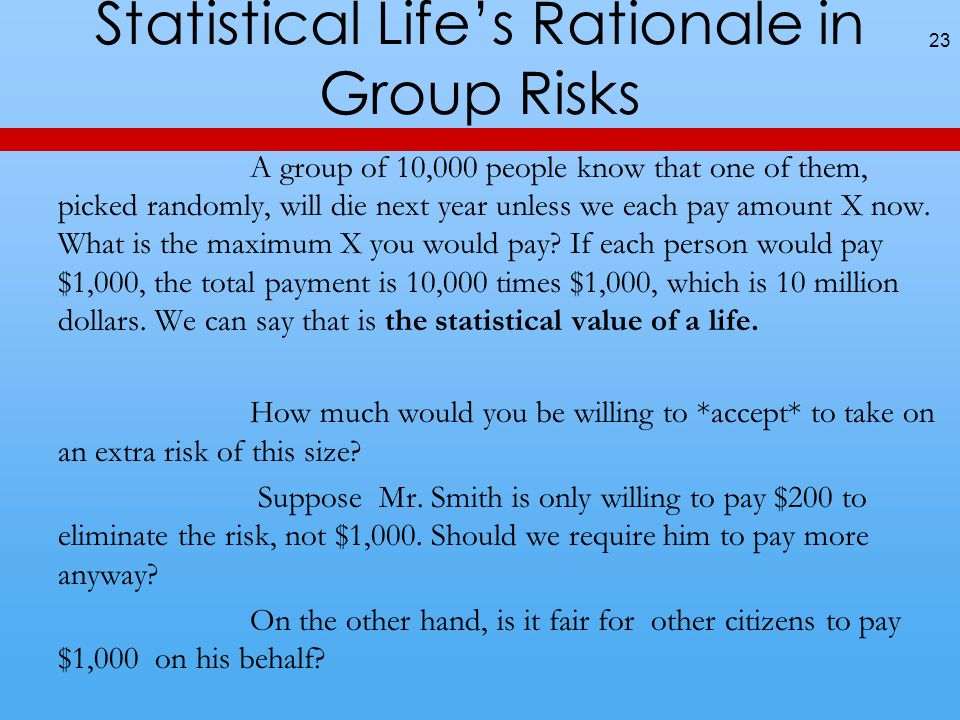 Statistical Lifes Rationale in Group Risks A group of 10,000 people know that one of them, picked randomly, will die next year unless we each pay amount X now.
