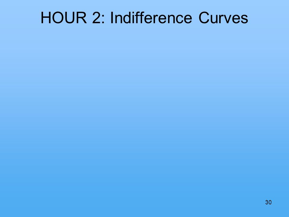 30 HOUR 2: Indifference Curves
