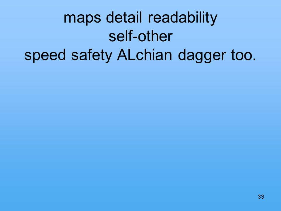 33 maps detail readability self-other speed safety ALchian dagger too.