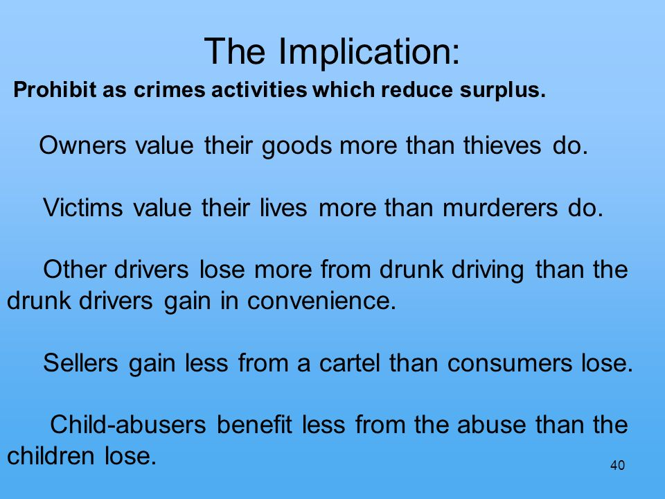 40 The Implication: Prohibit as crimes activities which reduce surplus.
