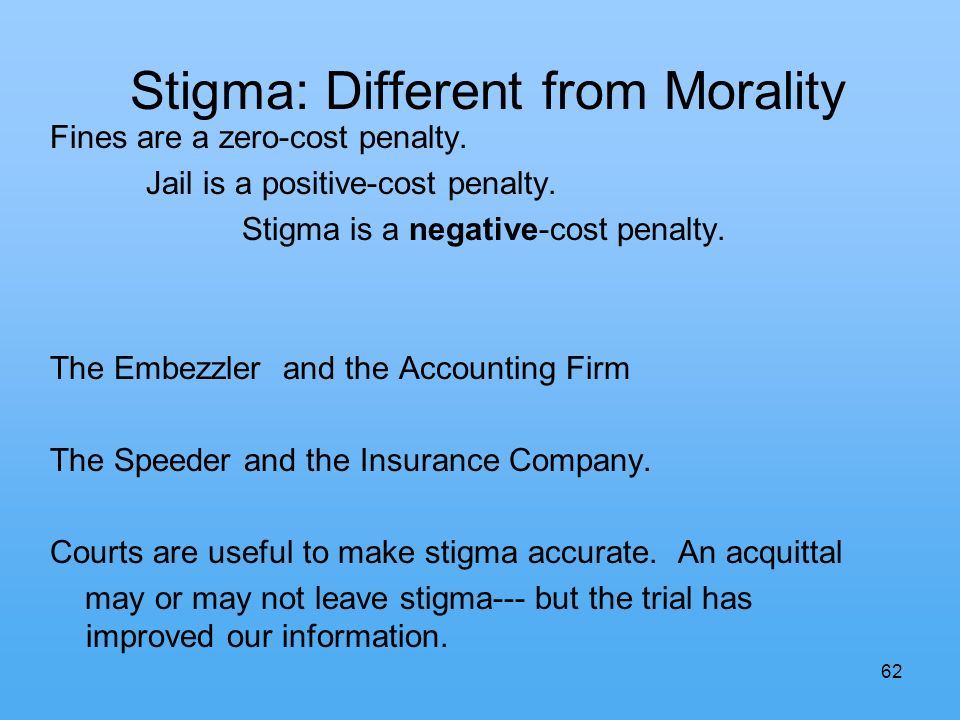 62 Stigma: Different from Morality Fines are a zero-cost penalty.