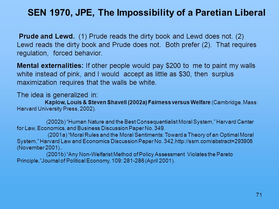 71 SEN 1970, JPE, The Impossibility of a Paretian Liberal Prude and Lewd.