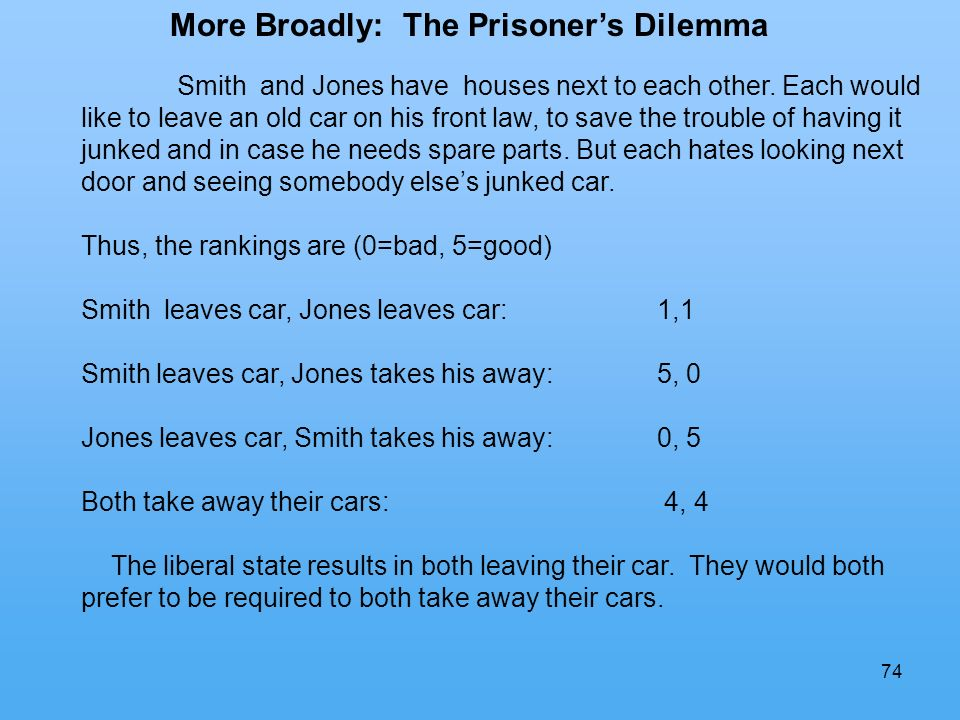74 More Broadly: The Prisoners Dilemma Smith and Jones have houses next to each other.