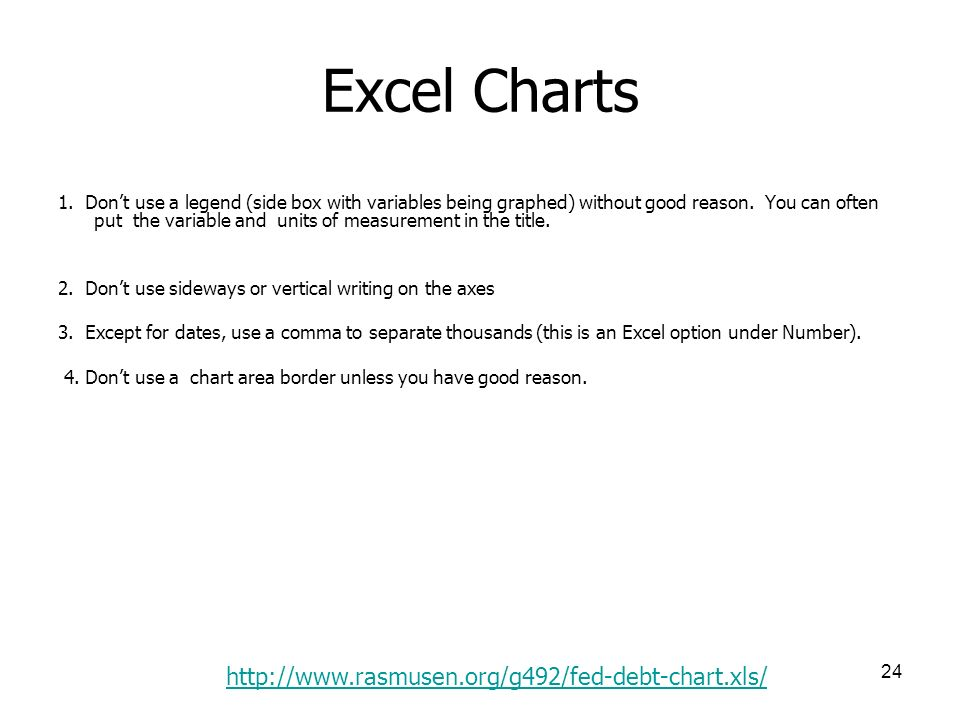 24 Excel Charts 1. Dont use a legend (side box with variables being graphed) without good reason.