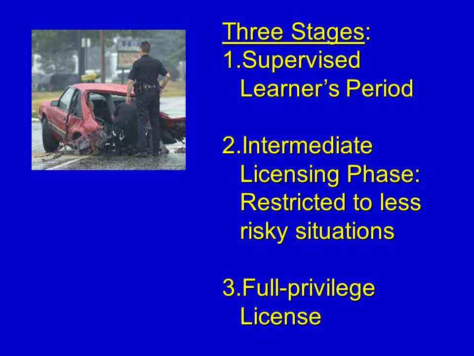 Three Stages: 1.Supervised Learners Period 2.Intermediate Licensing Phase: Restricted to less risky situations 3.Full-privilege License