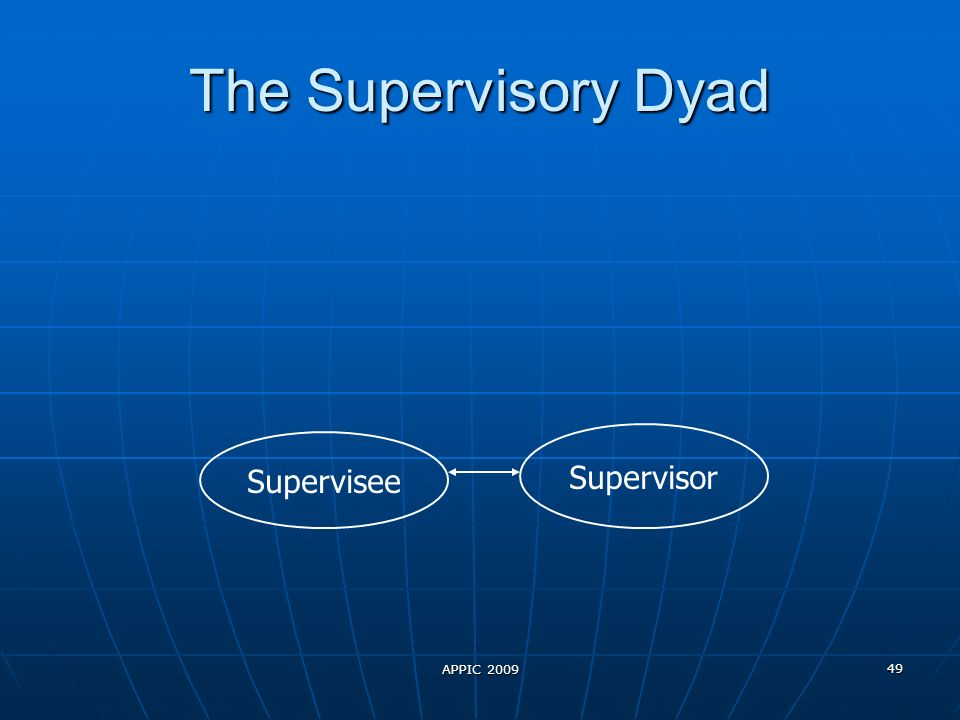 APPIC 2009 49 The Supervisory Dyad Supervisee Supervisor