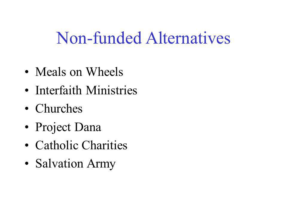 Non-funded Alternatives Meals on Wheels Interfaith Ministries Churches Project Dana Catholic Charities Salvation Army