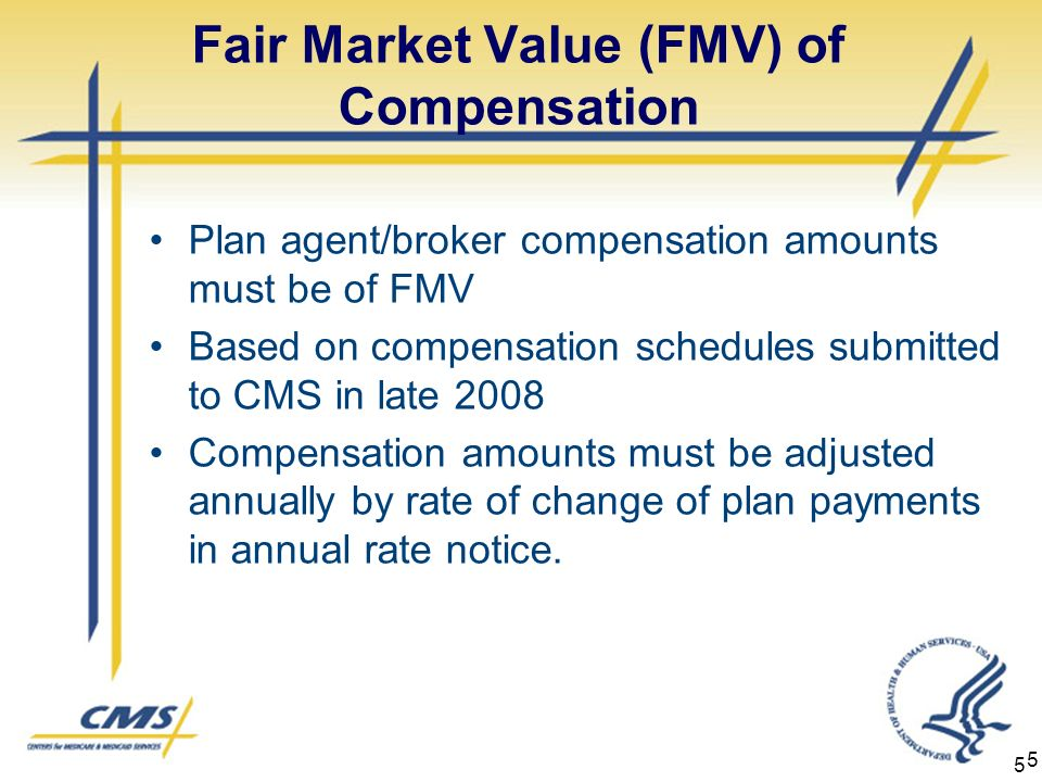 5 Fair Market Value (FMV) of Compensation Plan agent/broker compensation amounts must be of FMV Based on compensation schedules submitted to CMS in late 2008 Compensation amounts must be adjusted annually by rate of change of plan payments in annual rate notice.