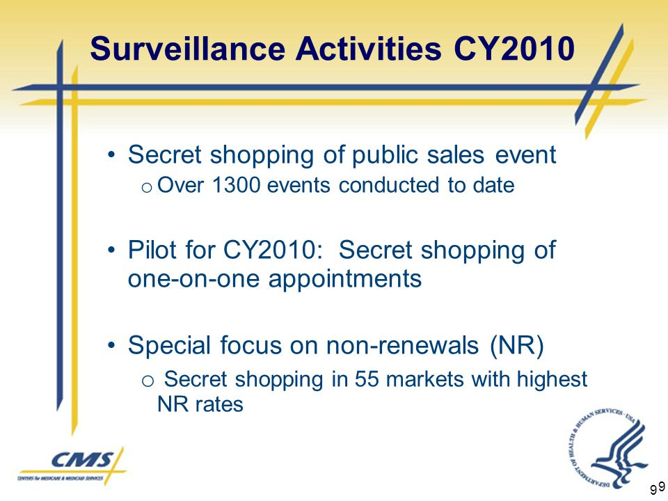 9 9 Surveillance Activities CY2010 Secret shopping of public sales event o Over 1300 events conducted to date Pilot for CY2010: Secret shopping of one-on-one appointments Special focus on non-renewals (NR) o Secret shopping in 55 markets with highest NR rates