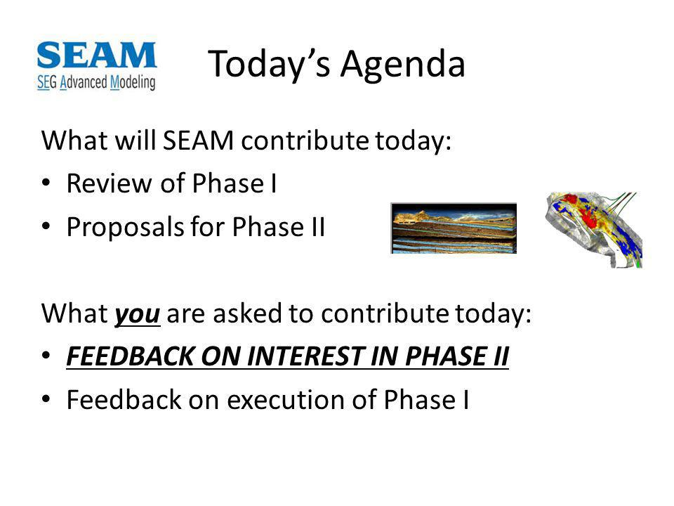 Todays Agenda What will SEAM contribute today: Review of Phase I Proposals for Phase II What you are asked to contribute today: FEEDBACK ON INTEREST IN PHASE II Feedback on execution of Phase I
