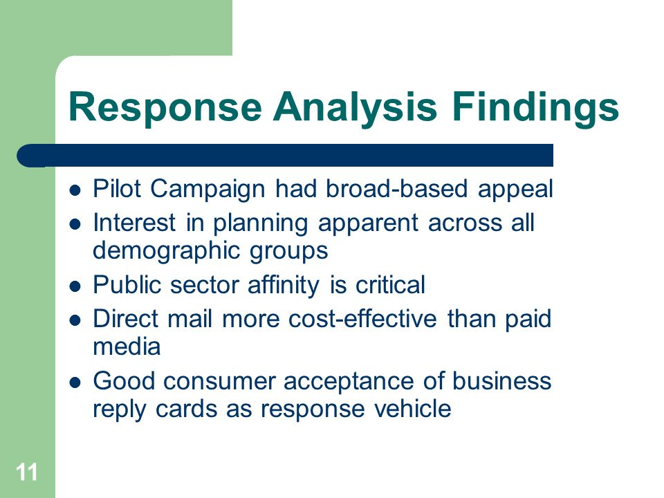 11 Response Analysis Findings Pilot Campaign had broad-based appeal Interest in planning apparent across all demographic groups Public sector affinity is critical Direct mail more cost-effective than paid media Good consumer acceptance of business reply cards as response vehicle