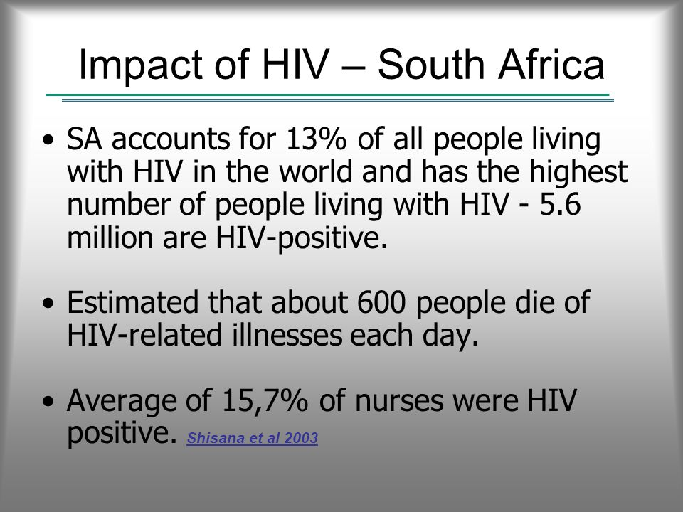 Impact of HIV – South Africa SA accounts for 13% of all people living with HIV in the world and has the highest number of people living with HIV - 5.6 million are HIV-positive.