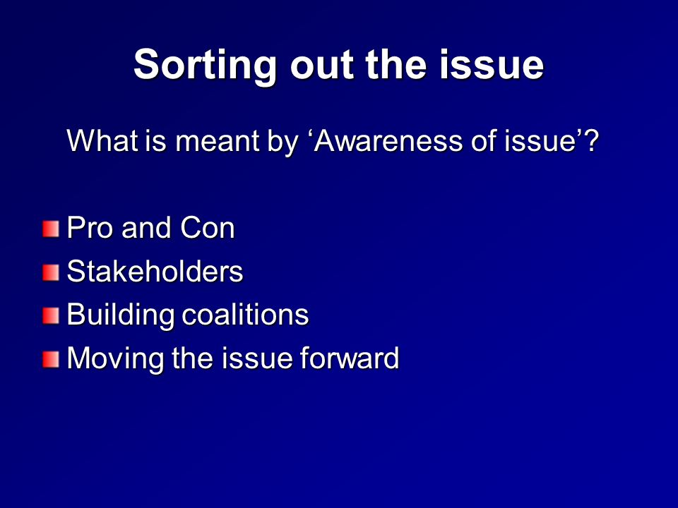 Sorting out the issue What is meant by Awareness of issue.