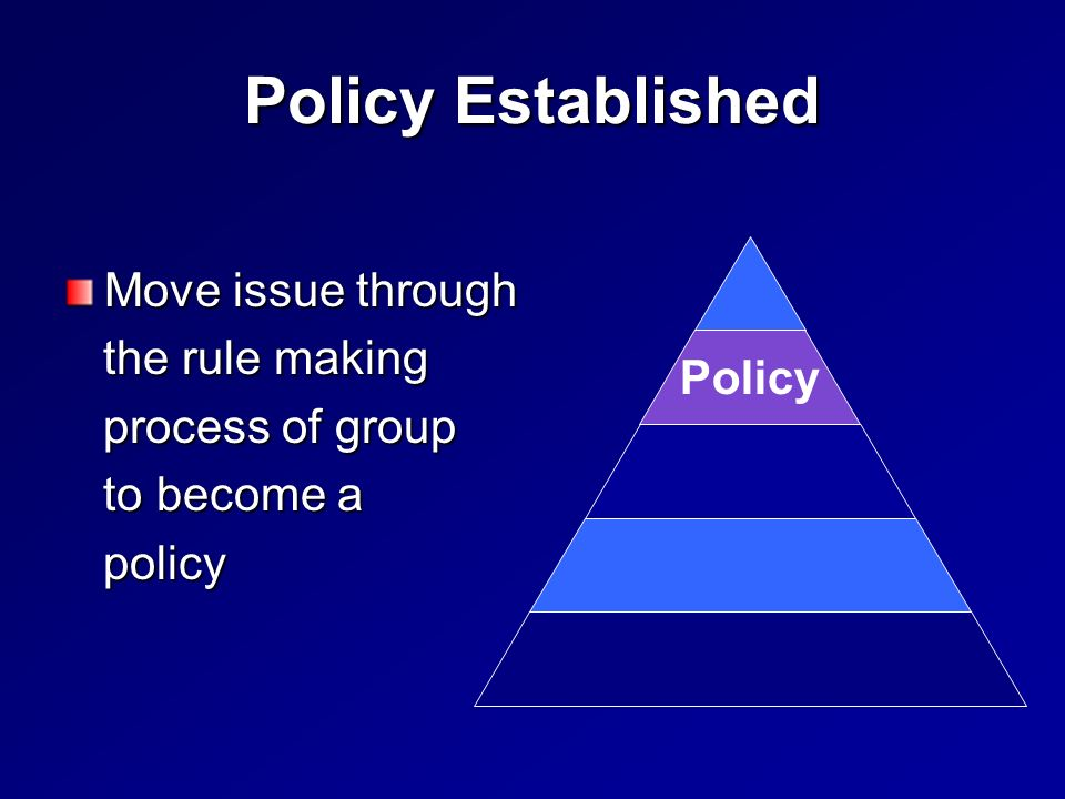 Policy Established Move issue through the rule making the rule making process of group process of group to become a to become a policy policy Policy