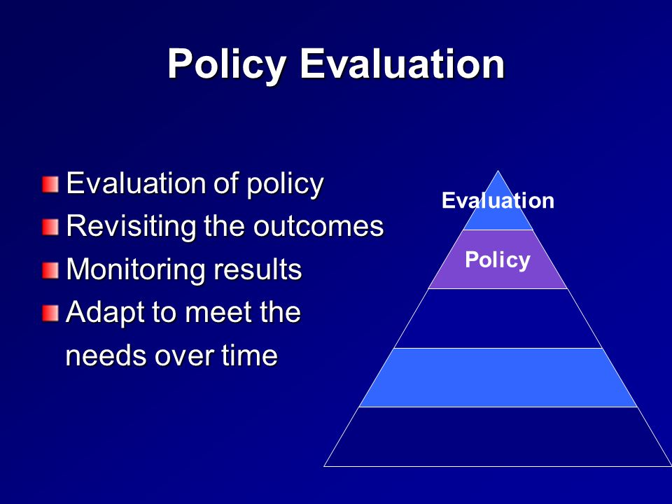 Policy Evaluation Evaluation of policy Revisiting the outcomes Monitoring results Adapt to meet the needs over time needs over time Policy Evaluation
