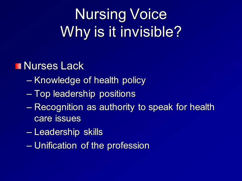 Nursing Voice Why is it invisible.