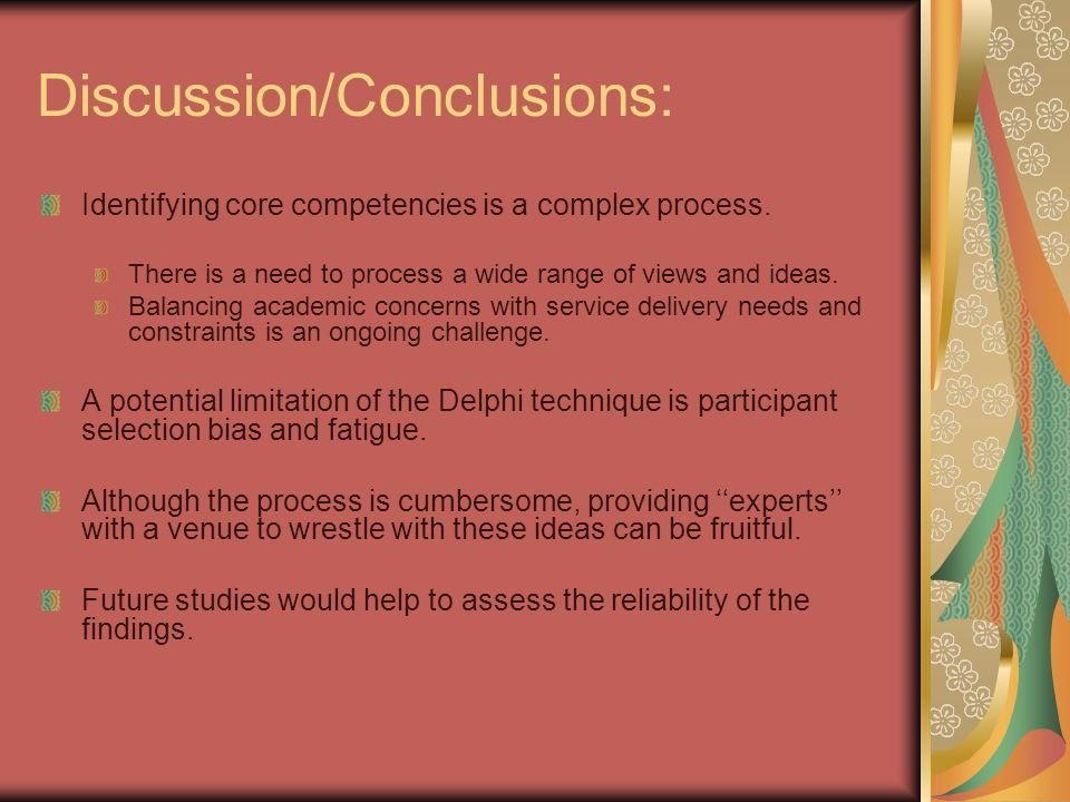 Discussion/Conclusions: Identifying core competencies is a complex process.