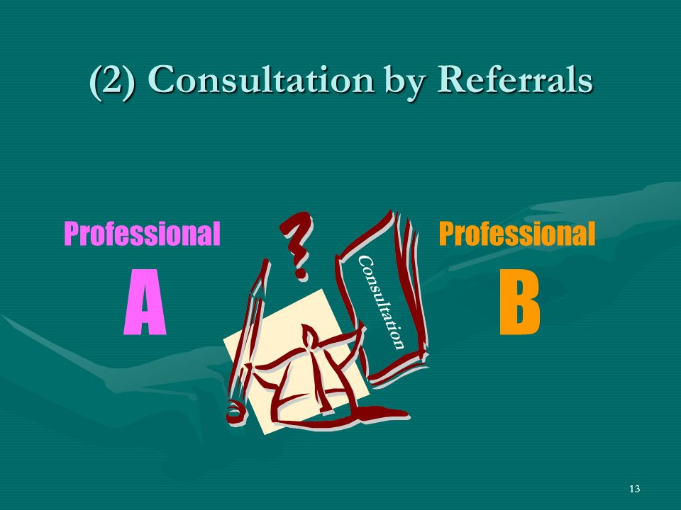 13 (2) Consultation by Referrals Professional B Professional A Consultation