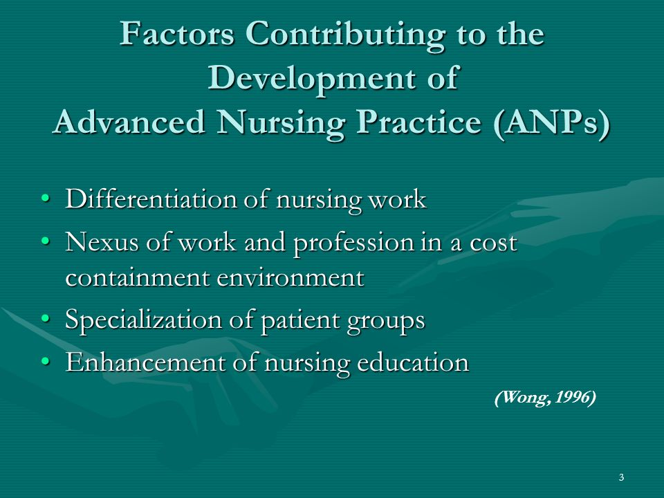 3 Factors Contributing to the Development of Advanced Nursing Practice (ANPs) Differentiation of nursing workDifferentiation of nursing work Nexus of work and profession in a cost containment environmentNexus of work and profession in a cost containment environment Specialization of patient groupsSpecialization of patient groups Enhancement of nursing educationEnhancement of nursing education (Wong, 1996)