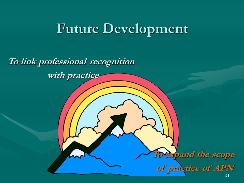 31 Future Development To link professional recognition with practice To expand the scope of practice of APN
