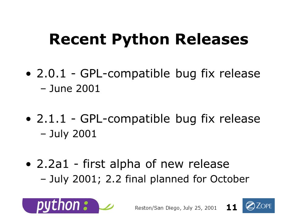 Reston/San Diego, July 25, 2001 11 Recent Python Releases 2.0.1 - GPL-compatible bug fix release –June 2001 2.1.1 - GPL-compatible bug fix release –July 2001 2.2a1 - first alpha of new release –July 2001; 2.2 final planned for October