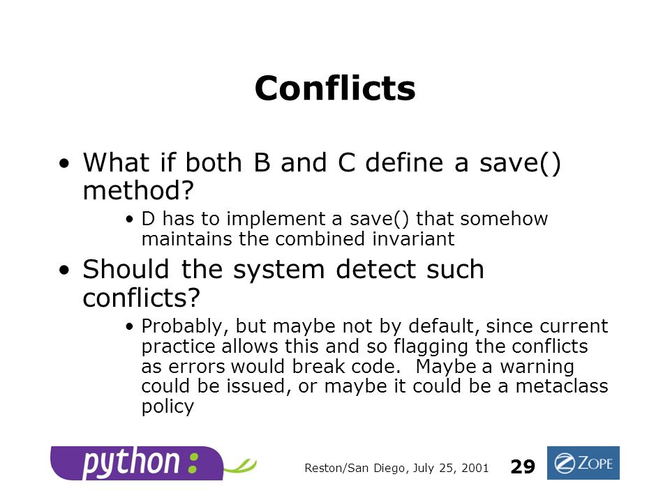 Reston/San Diego, July 25, 2001 29 Conflicts What if both B and C define a save() method.