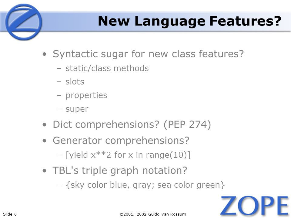 Slide 6©2001, 2002 Guido van Rossum New Language Features.